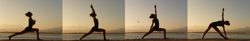 Yoga horizon coucher soleil silhouette